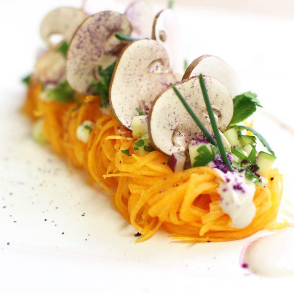 linguini de butternut à la crème de champignon