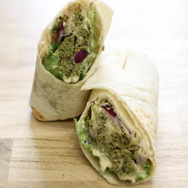 baked falafel hummus wrap