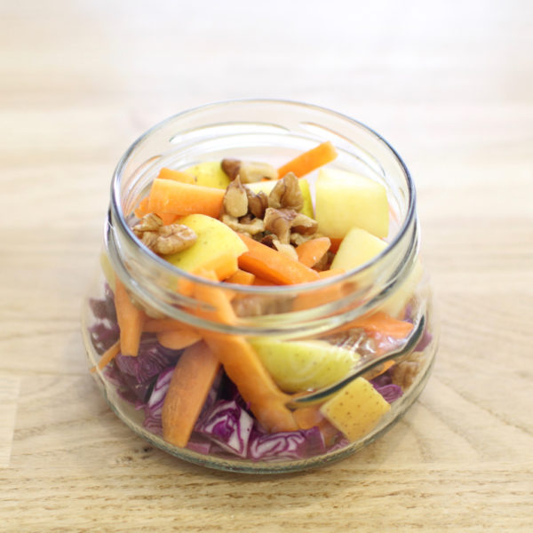 red cabbage apple & nuts salad